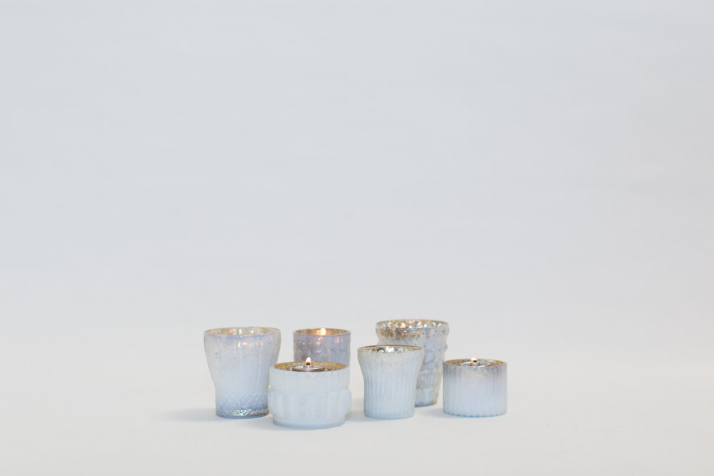 White Mercury Glass Votives