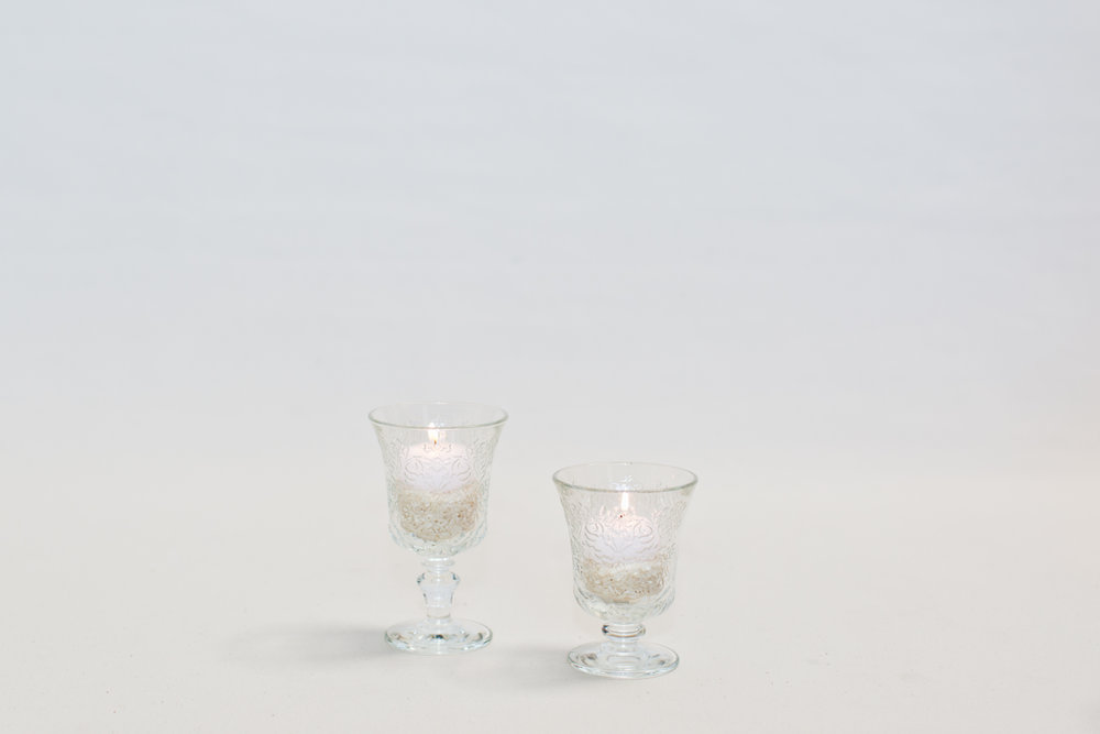 Embossed Glass Footed Goblets