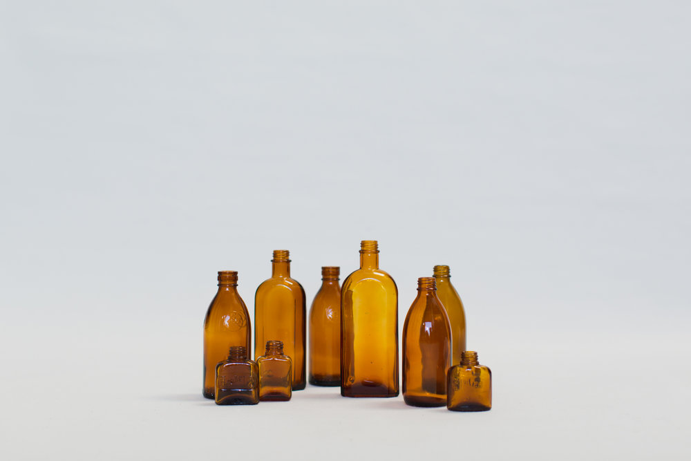 Vintage Apothecary Amber Bottles