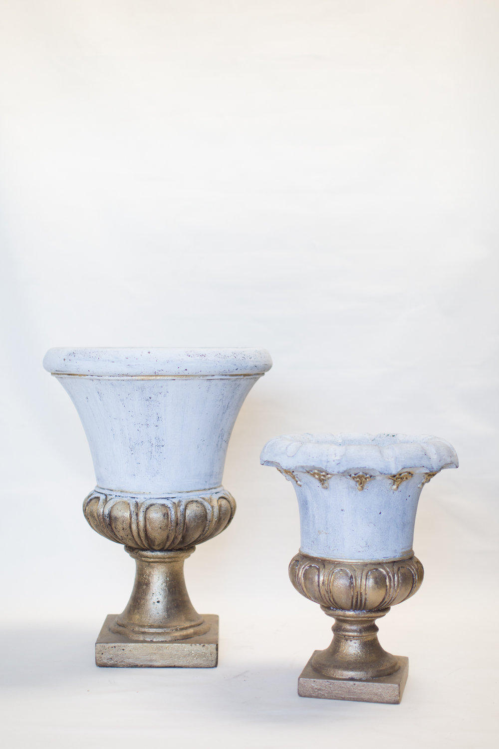 Gold, White-Washed Urns