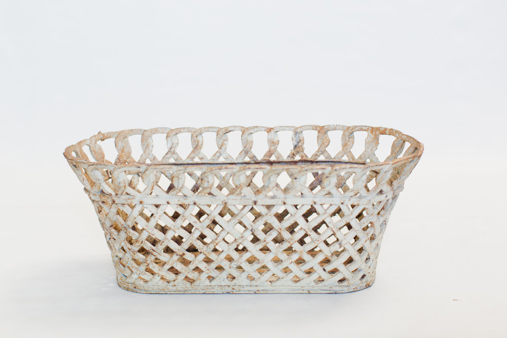 White Wash Iron Planter Basket