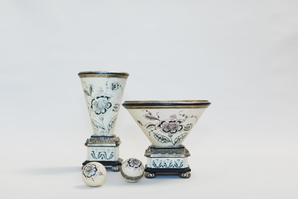 Black & Cream Floral Vessels