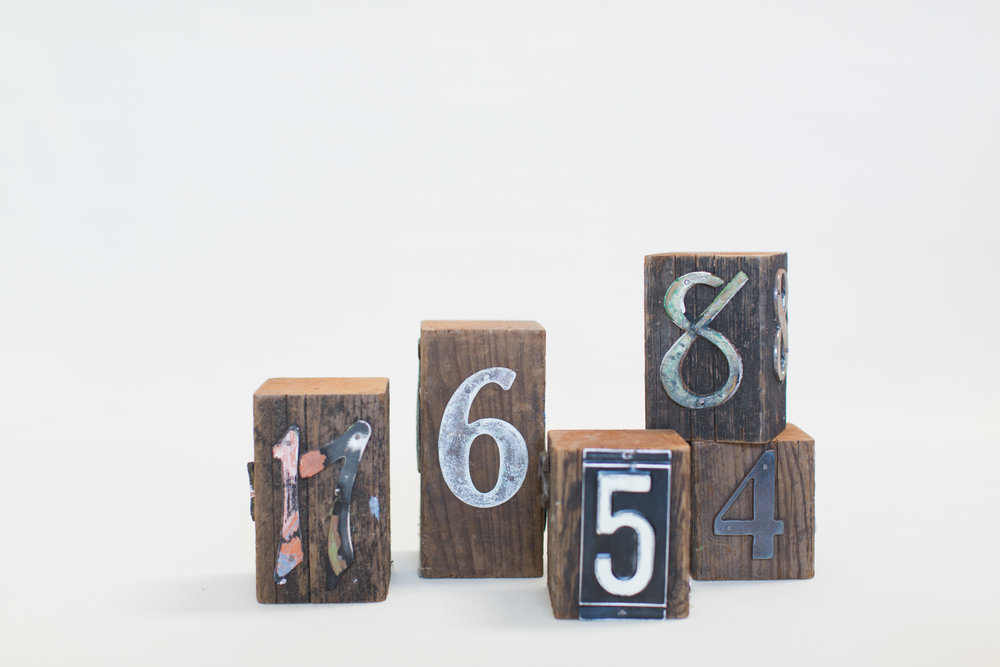 Metal on Wood Block Table Numbers