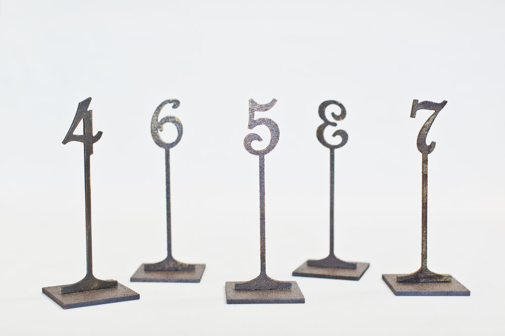 Wood with Metal Finish Table Numbers