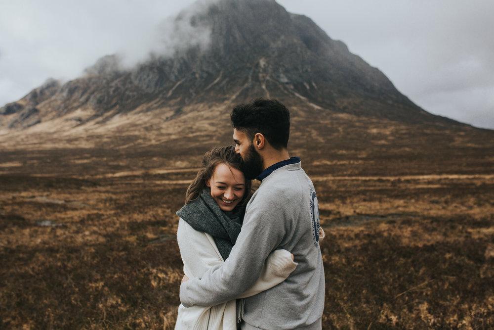 Glencoe engagement cuddle