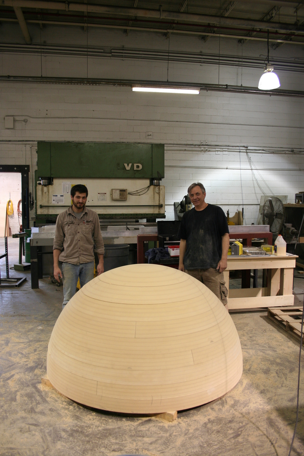 When we began work on the full-size globe, we first created a MDF hemisphere in order to allow for the creation of the wax models of the continents.