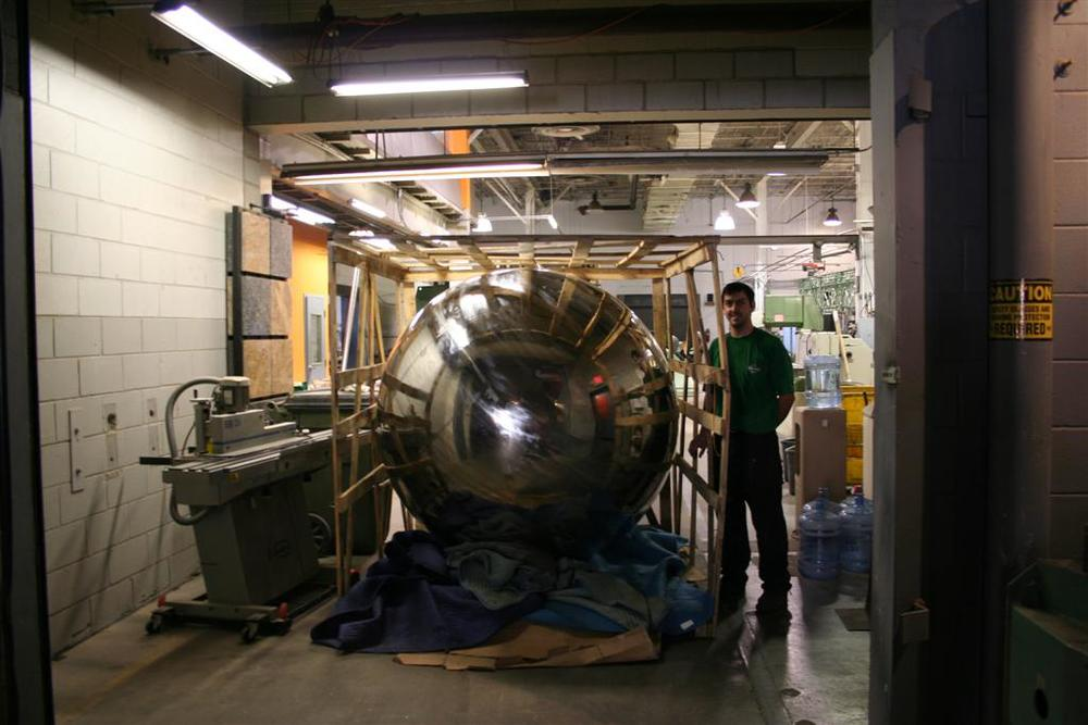 It wasn't feasible to build the stainless steel sphere in-house, so we brought it in.