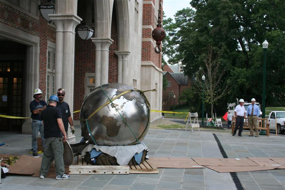 We decided that it was going to be safest and easiest to install the globe in a complete state.