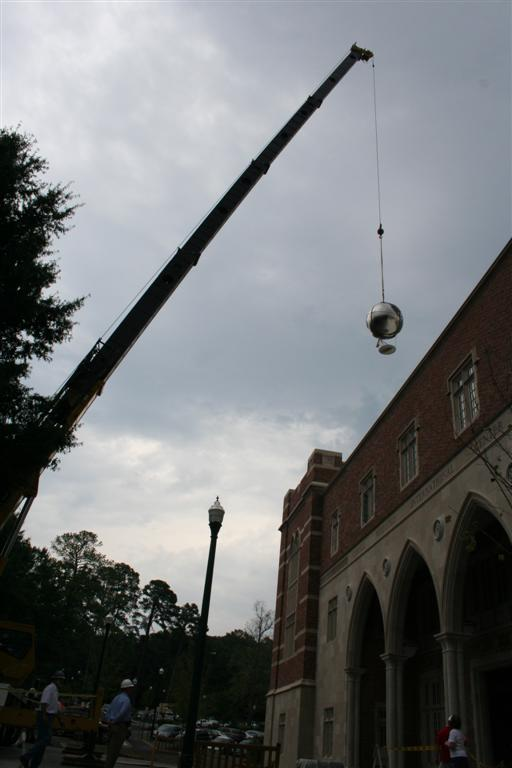 We had a crane bring it up and over and into the courtyard of the building.