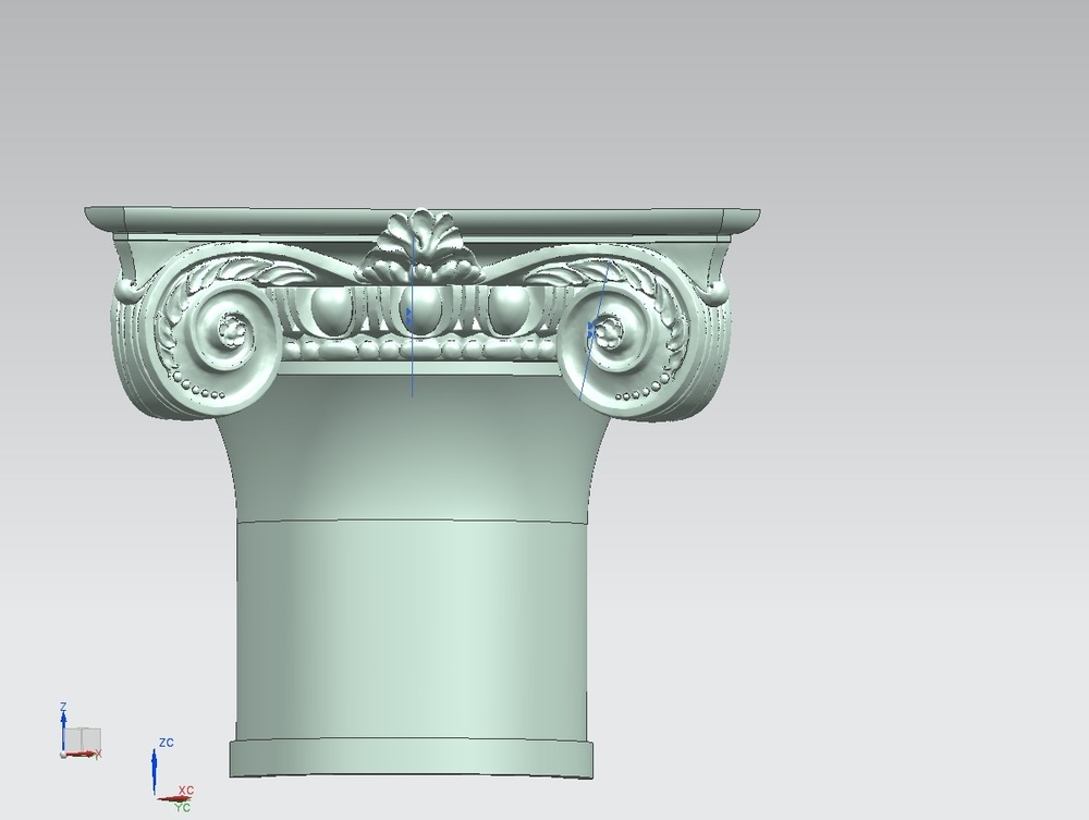 Back in May, we began the process of digitally scanning the separate elements of the capital. Here is the digital solid modeling of the bell, with the bead-and-reel, egg-and-dart, and volutes.