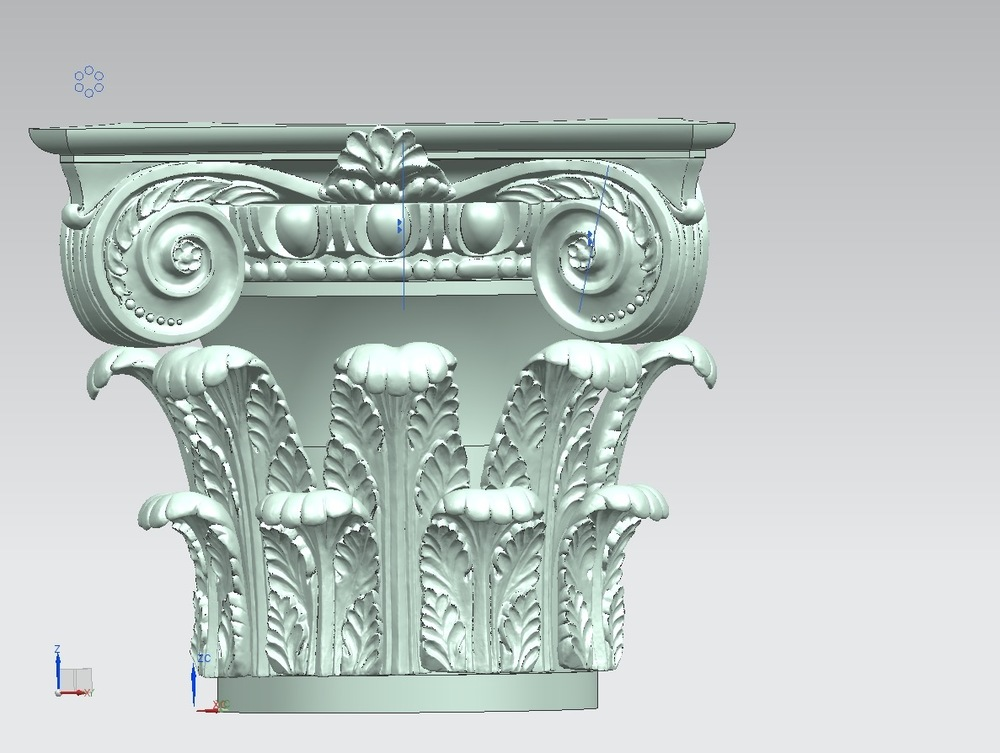 The acanthus leaves are added to the model of the bell.