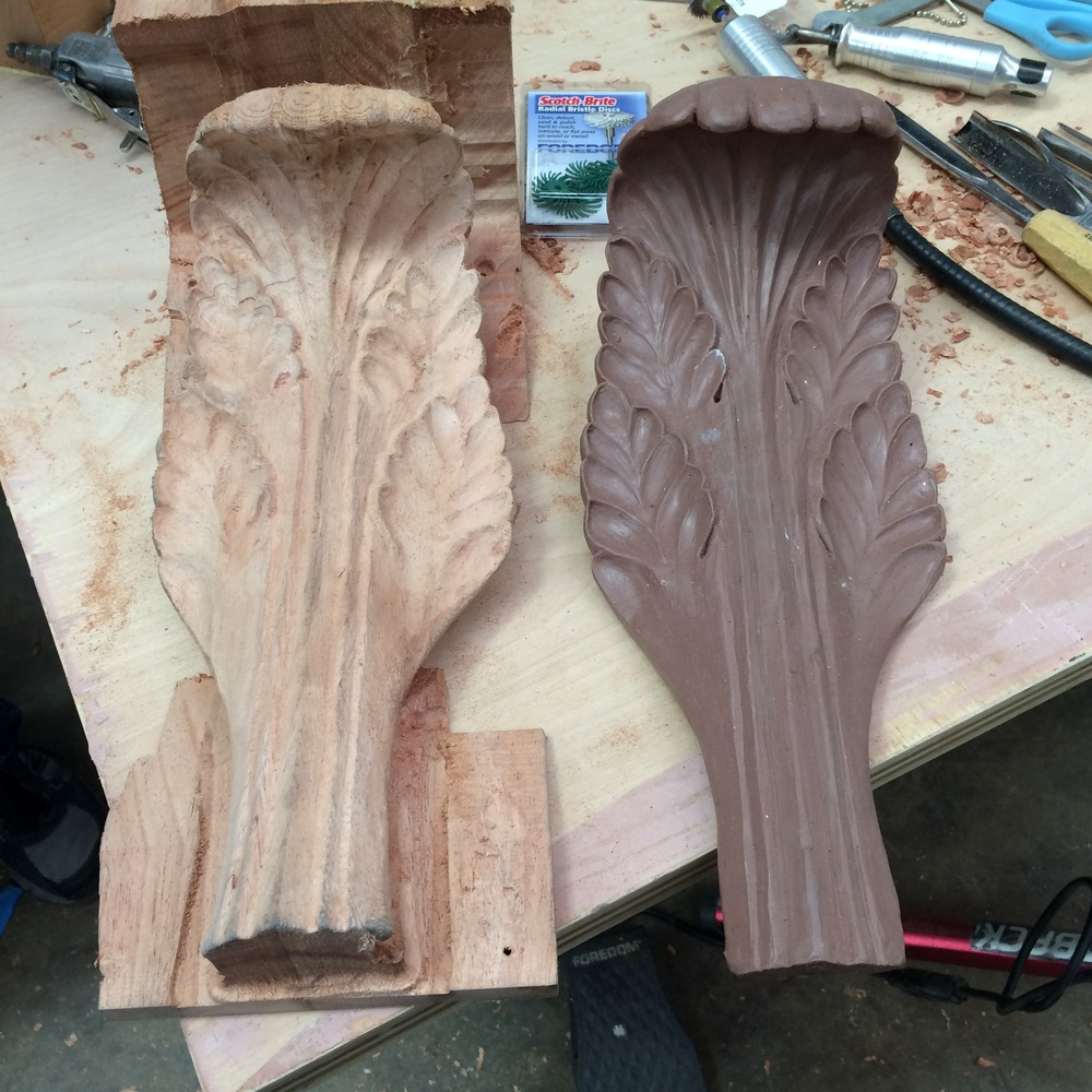 On the right, the original clay leaf.     On the left, the wooden acanthus leaf, machined from mahogany.