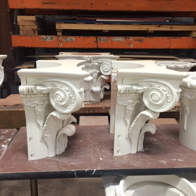 Some of the capitals are delivered as halves, to allow for installation around existing infrastructure in the Rotunda's Dome Room.
