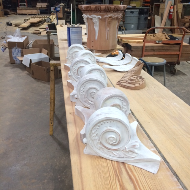 Volutes that have been sanded and primed. These will be painted before assembly.