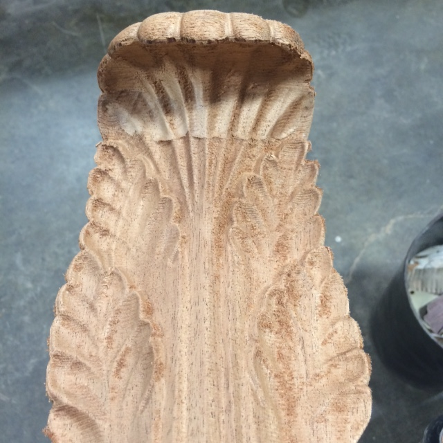 This large acanthus leaf is out of the machine and headed to sanding and finishing.