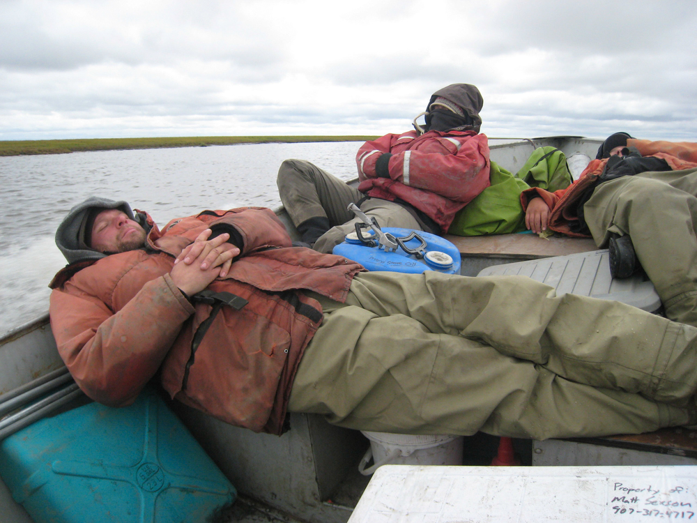 When it takes two days to get to camp, sleeping on the job is just part of the game. Where are those Twin Otters when you  really  need them?