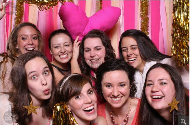 Fellow wedding pros turned friends in the HotDog NC photo booth at the Southern Weddings Magazine V7 Launch Party.