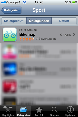 Bikemap App Sport ranking