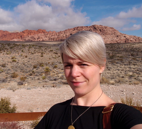 Ms. Withey in the Mojave, sporting Laverne (her dress-for-a-year). PS Cute haircut!! :-)
