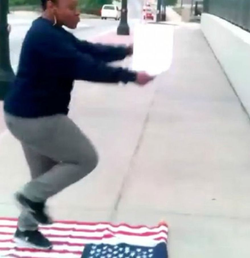 Pictured: A proud American exercising her freedom of speech.