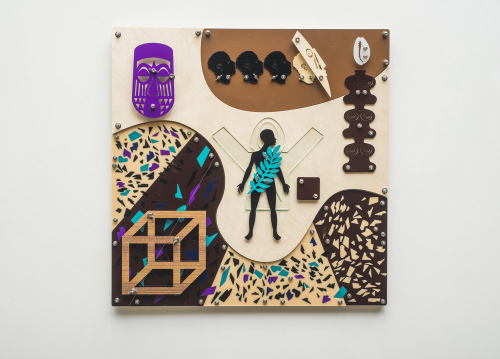 Bodily Senses (Blackamoors Collage #235)  CNC routed birch, plexiglass and stainless steel hardware  30 x 30 inches  Photo credit: John Carlano