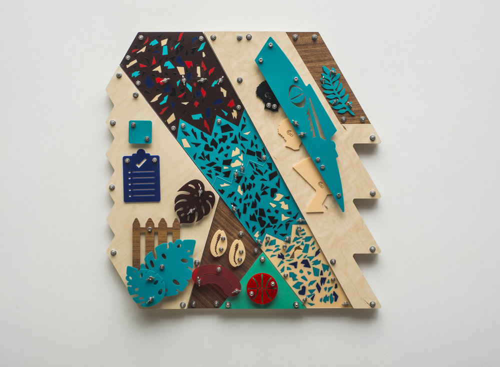 Defensive (Blackamoors Collage #229)  CNC routed birch, plexiglass and stainless steel hardware  30 x 30 inches  Photo credit: John Carlano