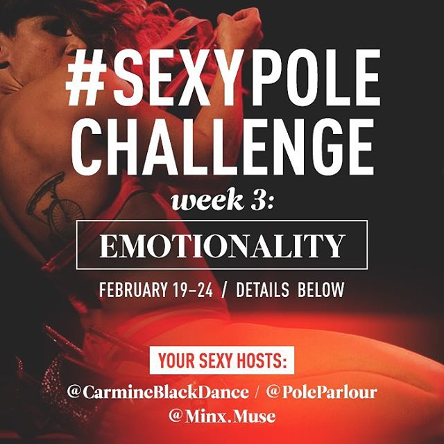 "Today is the last day to submit a video for Week 3 of the #SexyPoleChallenge, with the theme ""Emotionality""! Check out @sexypolechallenge and sexxxy queen herself @carmineblackdance for inspiration! 🖤🔥✨ And you could win some swag from me and @minx.muse! ✨🔥🖤 #dancesexy #findyoursexy #pdsexy #bringingsexyback #sexyneverleft"