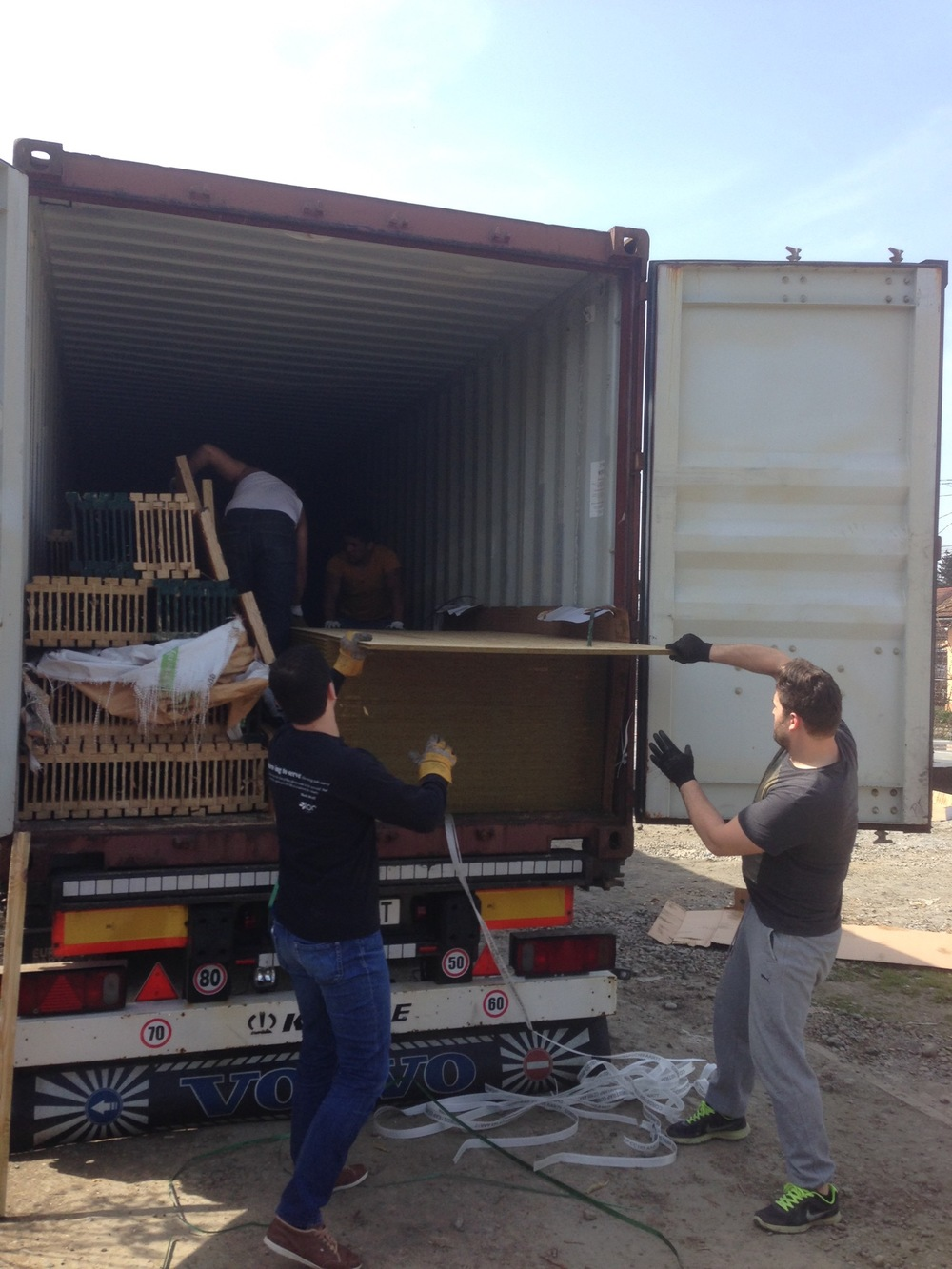 Unloading the lumber.