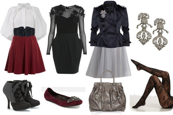 Outfits examples in the Dark Winter color palette for the Famme Fatale Image Archetype.
