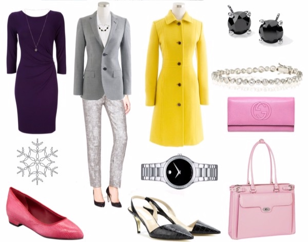 Miscellaneous outfits in True Winter colors for the Princess or Sophisticate Image Archetypes.