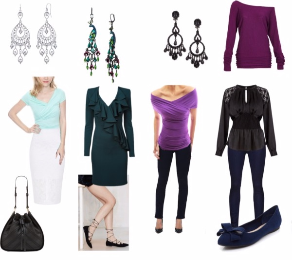 Everyday outfits in True Winter colors for the Femme Fatale Image Archetype.