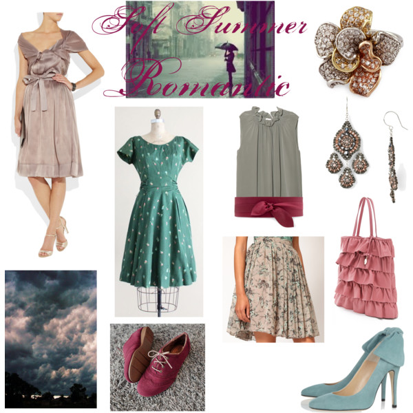 Miscellaneous outfits in Soft Summer colors for the Bombshell Image Archetype.