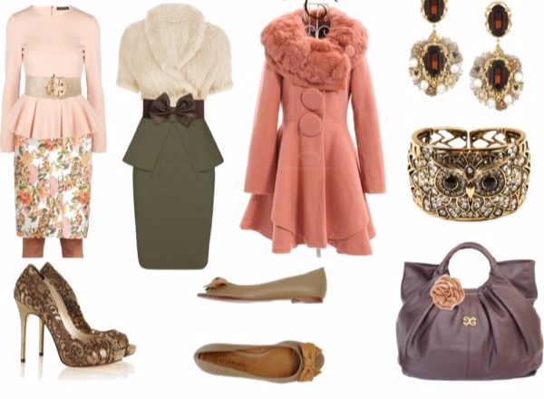 Miscellaneous outfits in Soft Autumn colors for the Femme Fatale Image Archetype.