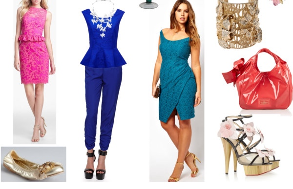 Outfits in Bright Spring colors for the Femme Fatale Image Archetype.