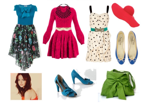 Outfits in Bright Spring colors for the Bombshell Image Archetype.