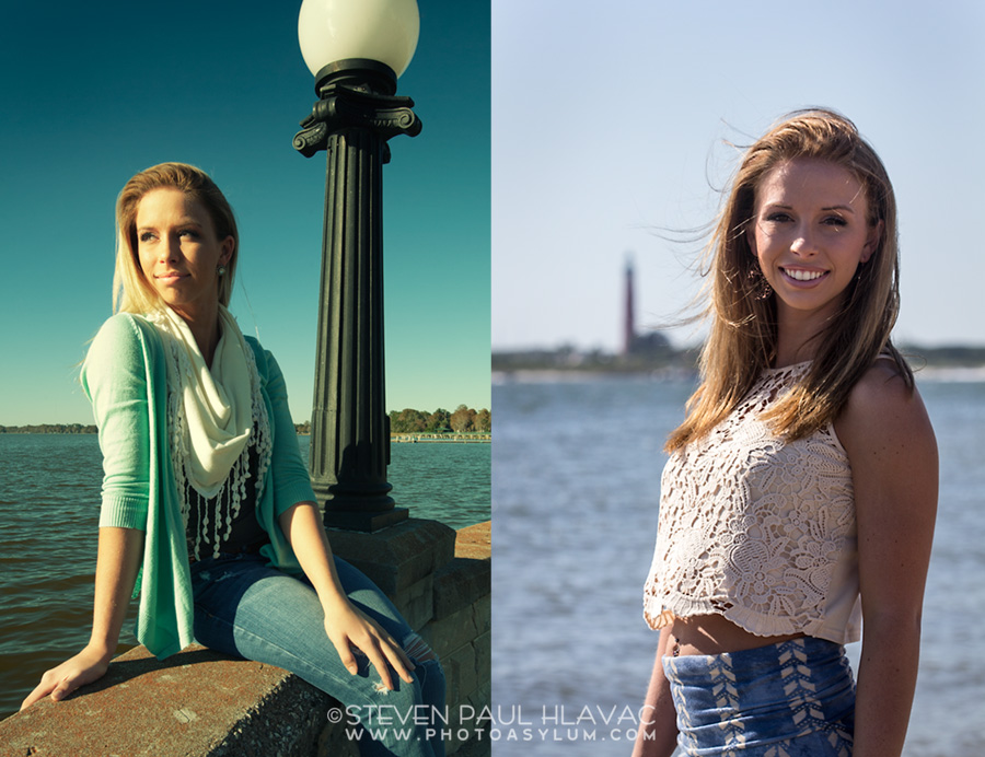 Eustis, Florida High School senior Hannah Means in Eustis (left) and New Smyrna Beach (right).