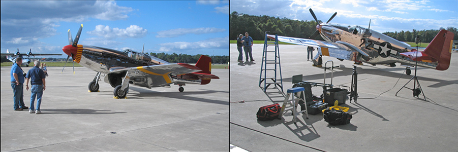 Some behind-the-scenes. Left: helpful staff from the Fantasy of Flight Aviation Museum wheel their showcase exhibit, a beautifully restored Red Tail Mustang P-51 fighter, onto the tarmac awaiting my directions as to exactly where to place it in my photo. The power I wielded was intoxicating. Right: I've already chosen the plane's position for the strongest composition considering the surrounding scene and lighting, and my gear lies strewn in the foreground as I set up. Yes, a lot of stuff for such a simple shot! December 2011, Polk City, Florida. ©Steven Paul Hlavac.