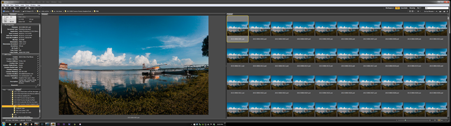 Early editing in Adobe Bridge. Be prepared for lots and lots (and lots) of images that look the same. Comes with the territory when creating a time lapse.