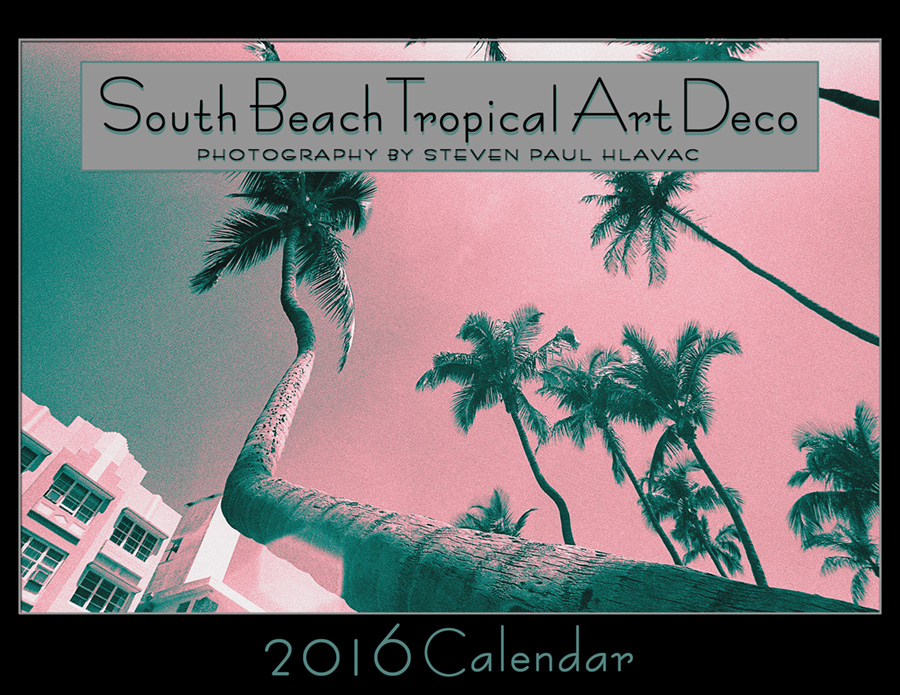 The 2016 South Beach Tropical Art Deco calendar captures the vintage romance and whimsy of some of the architecture and scenery of Miami Beach, its images originally shot on film during the time I lived there. The teal and seafoam color palette in the photos differs from my gallery of the same images here on this web site, but shows how the monochrome treatment works well in an variety of colors.