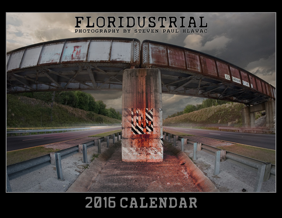 The 2016 Floridustrial calendar contains photographs that reflect a huge transition for me: moving from Miami to Central Florida and having to adapt to and interact with more rural visuals. It provided me with a wonderful art project at a time I was somewhat isolated and unable to travel. It also allowed me to hone my Photoshop skills, combining separate elements in many of the pieces in a realistic and believable way.