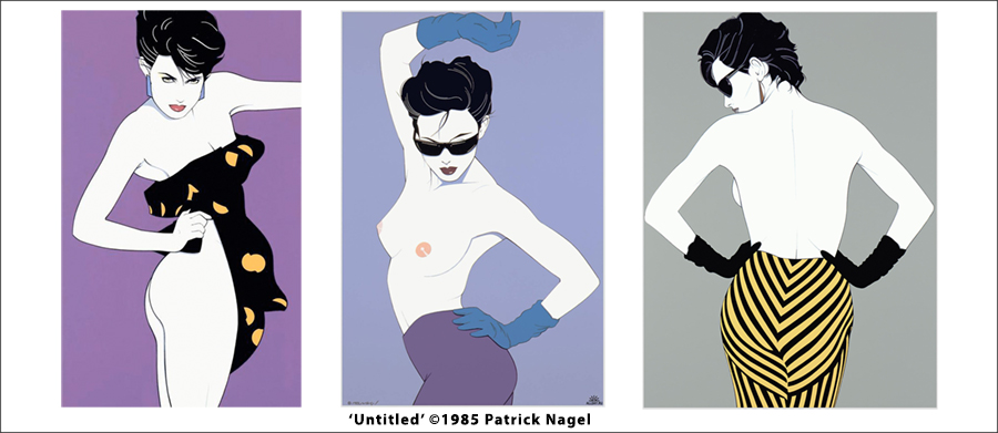 Patrick Nagel's clean, stylized illustrations combined bold fields of flat color with an effortless sexuality from his beautiful models. His innovative style and technique dominated the pop art scene in the late 1970s and early 1980s. I love that his model's poses blurred the lines between fashion and pinup.