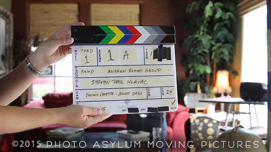 You can't get any more Ground Zero than - Card 1, Scene 1A, Take 1 - of my commercial directorial debut, the first of a series of videos for consultant The Andrew Roman Group. Shot at Norm's Palette in Mount Dora, Florida.  Screenshot ©2015 Steven Paul Hlavac/Photo Asylum Moving Pictures.