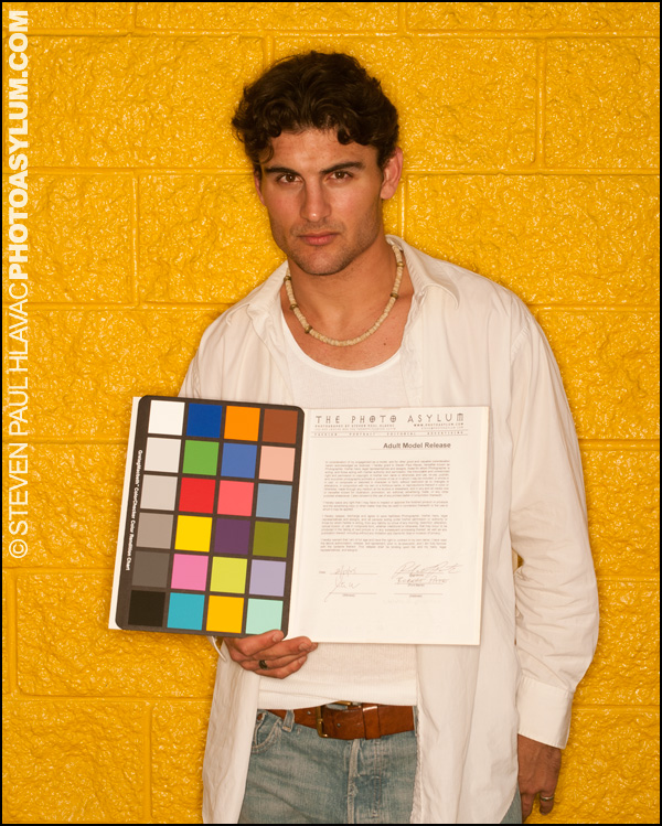 Model Robert Pate wouldn't dare deny signing his release as long as I have this! Photo ©Steven Paul Hlavac.