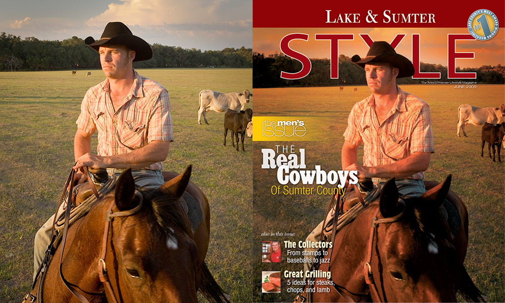"Sometimes it's good to be lucky, especially if reshooting is a pain. For this story on Central Florida cowboys, I spent most of the afternoon riding around on a jeep with no real game plan, just taking spontaneous shots of life on a working ranch. Both I and magazine Creative Director Steve Codraro were thrilled that at the end of the day, I captured this ""Marlboro Man"" portrait of cowboy Coy Mueller that ended up as a cover. Nearly any kind of sky would have sufficed, but I really preferred a late afternoon sun with just a hint of clouds in the background. For once, nature cooperated. Location: Oxford, Florida. Photo ©Steven Paul Hlavac."