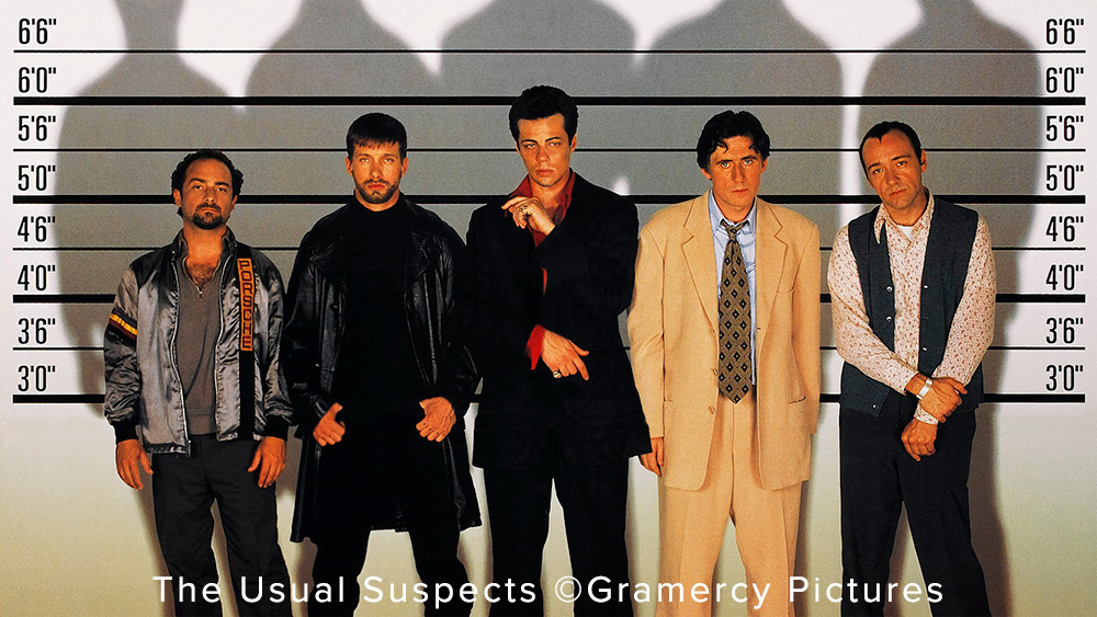 This may be an iconic photo because of the plot of the movie, The Usual Suspects, but trust me, you do not want your portraits to resemble a police lineup. Photo courtesy of and ©Gramercy Pictures.