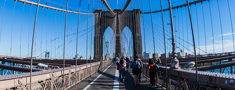 The iconic architectural design of the Brooklyn Bridge practically screams symmetry. And while I took shots from a lot of different angles, I found the symmetrical ones the most pleasing. Photo ©Steven Paul Hlavac.