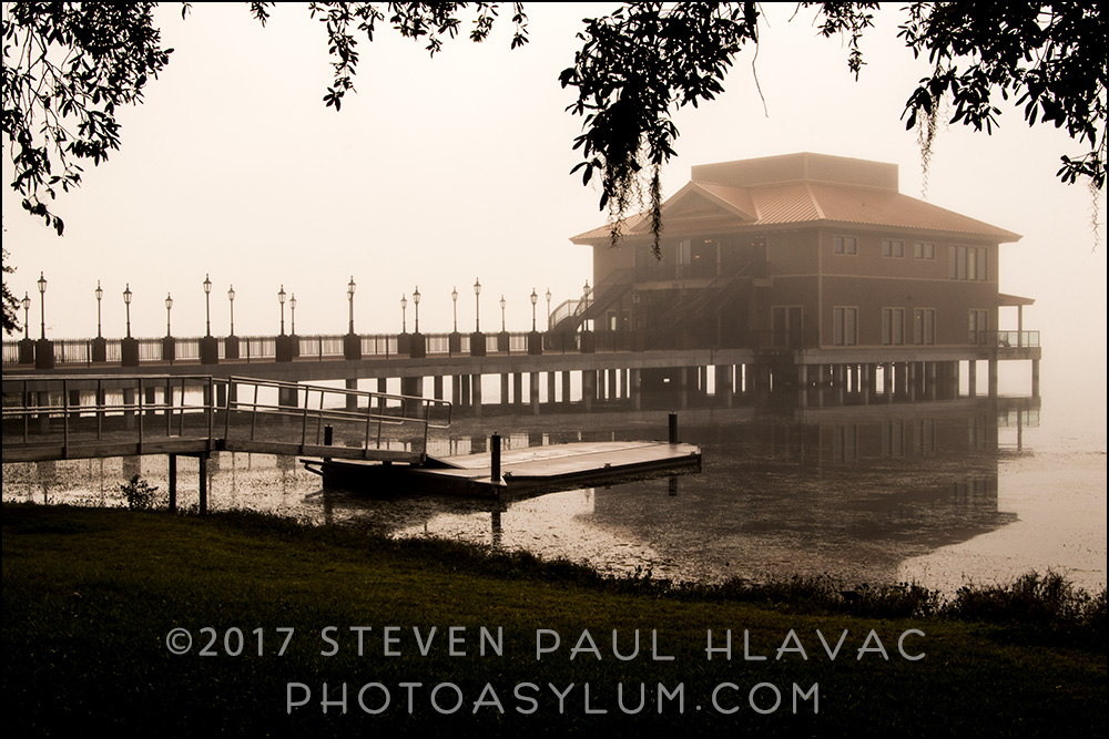 My second day out in the fog was much more successful. It lingered much later into the morning, allowing me to not only get to my first location choice, Wooton Park in Tavares, and the Seaplane Base and Marina, but also the luxury of having the time to look around and shoot at multiple spots in the park.  This is the city's event pavilion, rarely seen in these kind of weather conditions. Photo ©Steven Paul Hlavac.