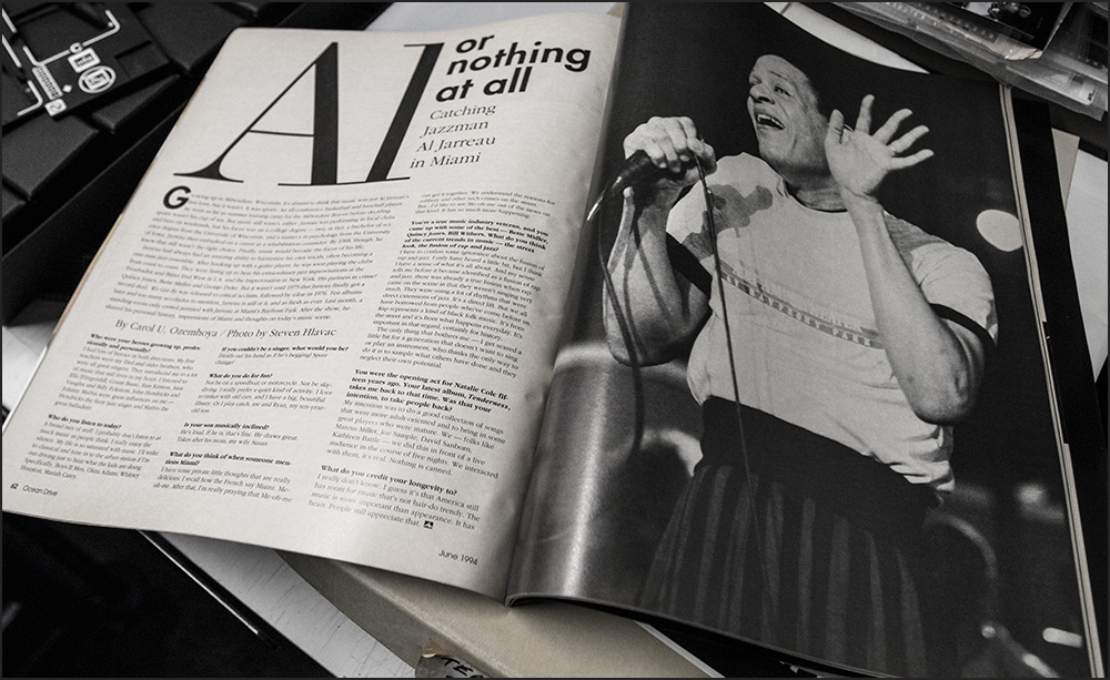 You would think a cash-cow like Ocean Drive Magazine would have sprung for a nice color photo of Al Jarreau, especially considering that's what I gave them. So that was disappointing, but I never expected them to run one of my photos full page, so that was a pleasant surprise. Article by Carol U. Ozemhoya. Photo ©Yours Truly.