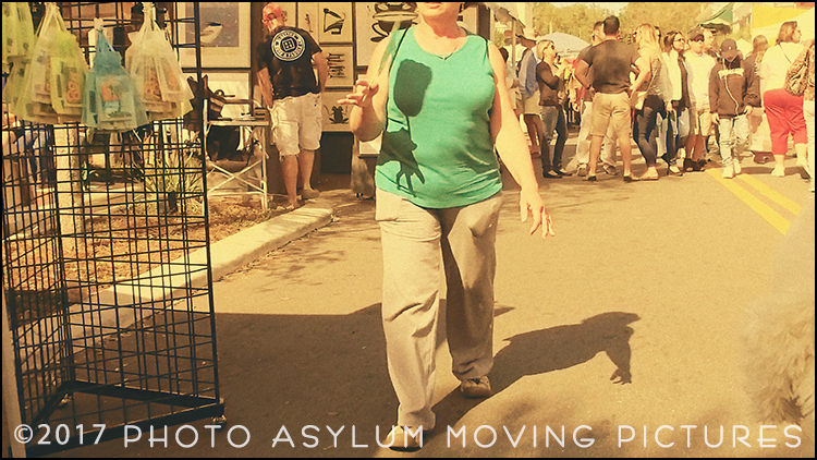 Florida 'festival' events always bring out an eclectic mix of both tourists and locals. This hand held footage from the 2017 Mount Dora Arts Festival looks even stranger is slow and fast motion. Screenshot ©Photo Asylum Moving Pictures/Steven Paul Hlavac. All Rights Reserved.