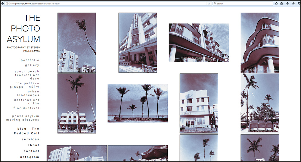My South Beach Tropical Art Deco series recalls a more elegant and innocent Miami. Though I photographed these scenes back in the very modern 1980s and 1990s, many of the images appear as though they could have been created in the 1940s. Screenshot ©Steven Paul Hlavac. All Rights Reserved.
